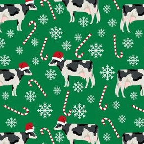 holstein cattle christmas candycane peppermint fabric green