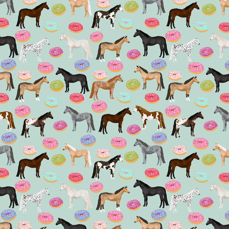 horse donuts cute riding horses mint fabric by petfriendly on Spoonflower - custom fabric