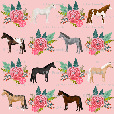 horse flowers horses riding lovers mixed pink