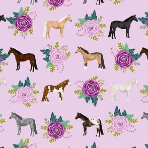 horse flowers horses riding lovers mixed purple