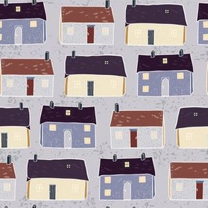 Houses Village Vector Pattern Repeat Seamless Background