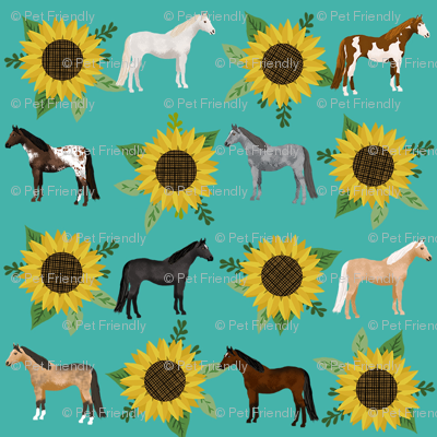 horse flowers horses riding lovers sunflowers teal