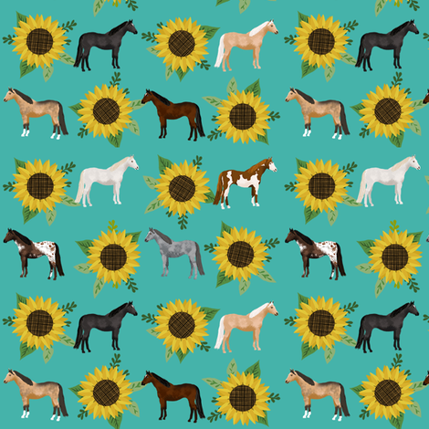 horse flowers horses riding lovers sunflowers teal fabric by petfriendly on Spoonflower - custom fabric
