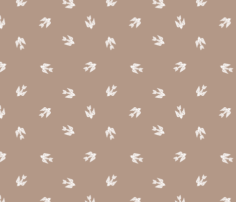 bird folk - nature, neutral, kinfolk, new, linocut, hand-stamped, andrea lauren design - coffee fabric by andrea_lauren on Spoonflower - custom fabric