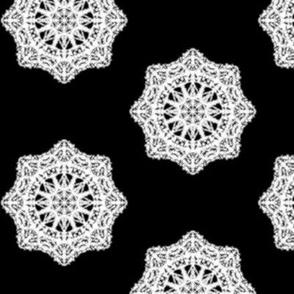 Heirloom Lace Doileys on Black