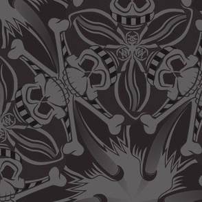 ★ PIRATE SKULL GEOMETRIC PATTERN ★ Black and Gray - Large Scale / Collection : Funky Pirates - Skull and Crossbones Prints 2