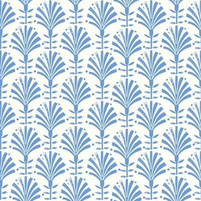 Bloom // folk fan, deco, art deco, decor, linocut, andrea lauren, wallpaper, classic, decor, 20s, retro - blue
