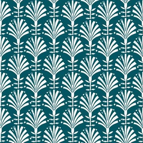 Bloom // folk fan, deco, art deco, decor, linocut, andrea lauren, wallpaper, classic, decor, 20s, retro - teal