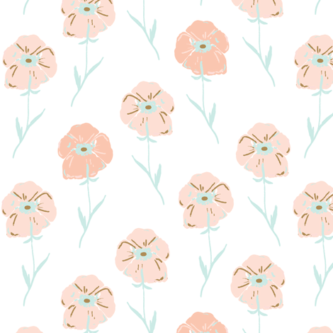 Indy-bloom-design-Pink-Poppies C fabric by indybloomdesign on Spoonflower - custom fabric