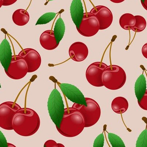 ripe sweet red cherries pattern blush