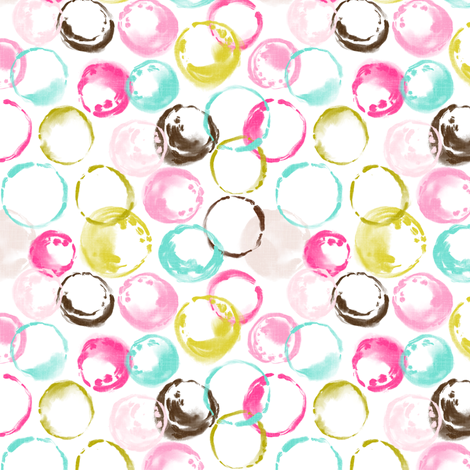 Retro Sweet Circles (white) fabric by helenpdesigns on Spoonflower - custom fabric