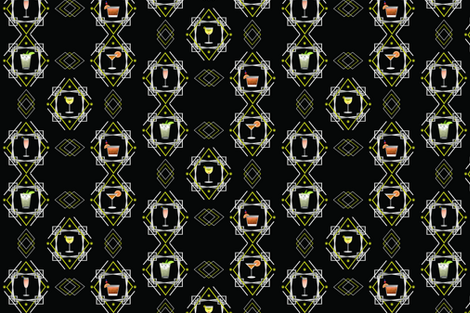1920s Cocktail pattern fabric by nessatabbycat on Spoonflower - custom fabric