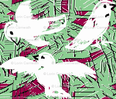 Doves and scratches 2 green red