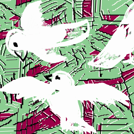 Doves and scratches 2 green red fabric by lorloves_design on Spoonflower - custom fabric