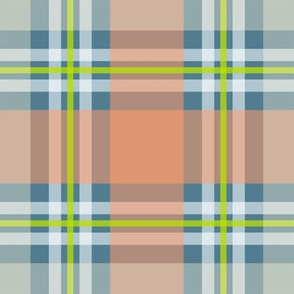 lime peach blue plaid