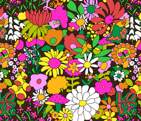 60's Groovy Garden in Chocolate Brown fabric by elliottdesignfactory on Spoonflower - custom fabric