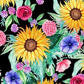watercolor sunflower dark floral // watercolor floral