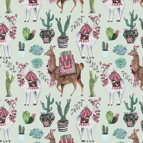 Llamas & Cactus // pink & green western girls room nursery decor little girls fabric