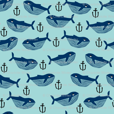 whale and anchor - nautical, nursery, baby, whales, ocean animals, animal, animals - blue and navy