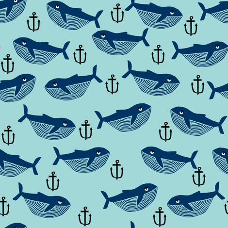 whale and anchor - nautical, nursery, baby, whales, ocean animals, animal, animals - blue and navy fabric by charlottewinter on Spoonflower - custom fabric