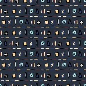 Geometric Doodle Shapes Navy Blue Vector Pattern