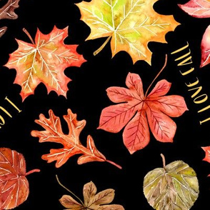 maple oak chestnut leaves I love fall text