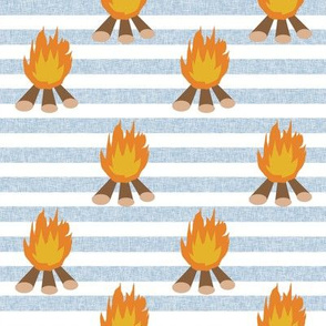 campfire - outdoors, adventure, kids, camping, campsite, scouts, guides - blue stripe