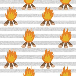 campfire - outdoors, adventure, kids, camping, campsite, scouts, guides - grey stripe