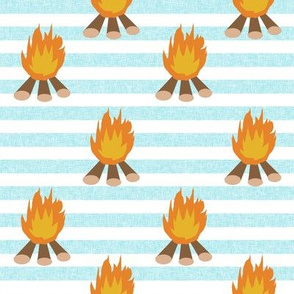 campfire - outdoors, adventure, kids, camping, campsite, scouts, guides - teal stripe