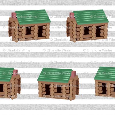 log cabin - logs, wood, cabin, camping, lincoln logs, outdoors, adventure, boys, kids - blue stripe