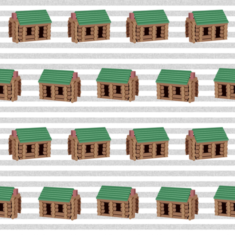 log cabin - logs, wood, cabin, camping, lincoln logs, outdoors, adventure, boys, kids - blue stripe fabric by charlottewinter on Spoonflower - custom fabric