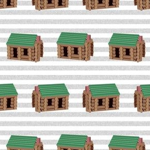 log cabin - logs, wood, cabin, camping, lincoln logs, outdoors, adventure, boys, kids - blue stripe
