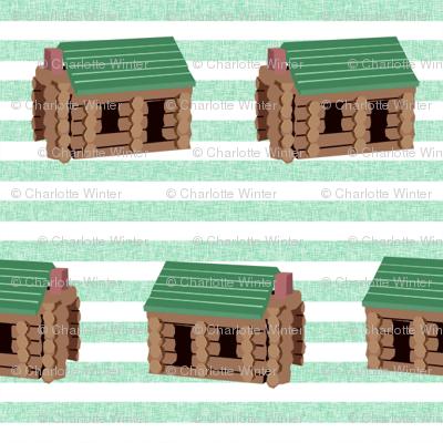 log cabin - logs, wood, cabin, camping, lincoln logs, outdoors, adventure, boys, kids - green stripe