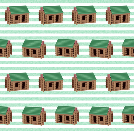 log cabin - logs, wood, cabin, camping, lincoln logs, outdoors, adventure, boys, kids - green stripe fabric by charlottewinter on Spoonflower - custom fabric