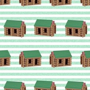 log cabin - logs, wood, cabin, camping, lincoln logs, outdoors, adventure, boys, kids - green stripe
