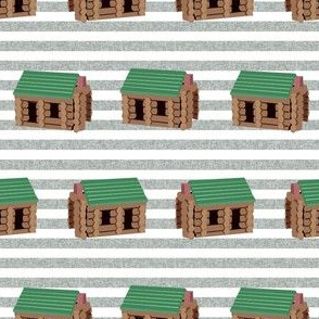 log cabin - logs, wood, cabin, camping, lincoln logs, outdoors, adventure, boys, kids -  tan stripes