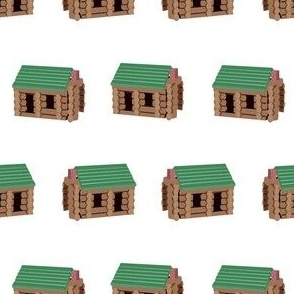 log cabin - logs, wood, cabin, camping, lincoln logs, outdoors, adventure, boys, kids - white