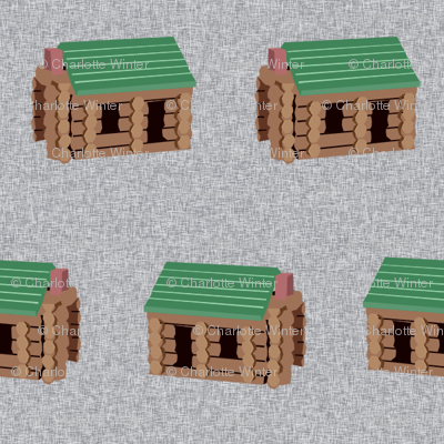 log cabin - logs, wood, cabin, camping, lincoln logs, outdoors, adventure, boys, kids -  grey
