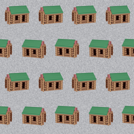 log cabin - logs, wood, cabin, camping, lincoln logs, outdoors, adventure, boys, kids -  grey fabric by charlottewinter on Spoonflower - custom fabric