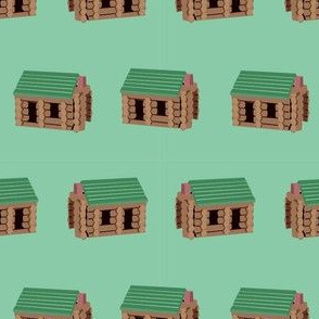 log cabin - logs, wood, cabin, camping, lincoln logs, outdoors, adventure, boys, kids -  green