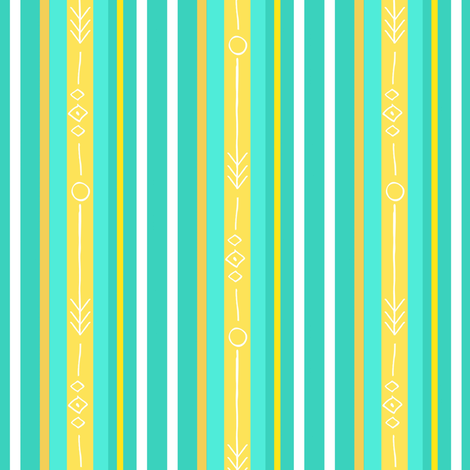 Bee's knees stripe / aqua  2  fabric by franbail on Spoonflower - custom fabric