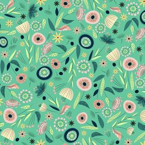 1950's Floral  - Jade