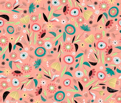1950's Floral - Salmon
