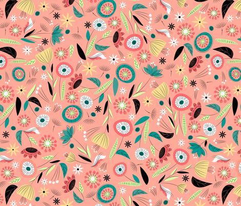 1950's Floral - Salmon fabric by sarah_treu on Spoonflower - custom fabric
