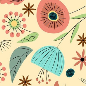 1950's Floral - Soft Cream
