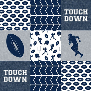 touch down - football wholecloth - blue and silver -  chevron