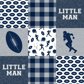little man - football wholecloth - blue and silver -  plaid