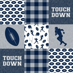 touch down - football wholecloth - blue and silver -  plaid