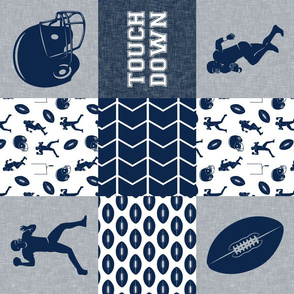 touch down - football wholecloth - blue and silver -  chevron (90)