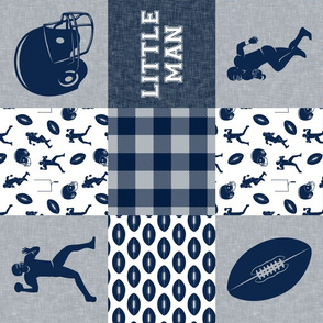 little man - football wholecloth - blue and silver -  plaid (90)